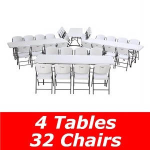 80147 Lifetime White 4 Folding 8' Tables + 32 Folding Chairs Package