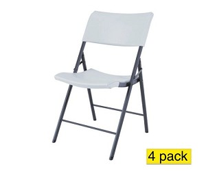 Lifetime Chairs 80191 Light-Duty White Granite Folding Chair 4 Pack