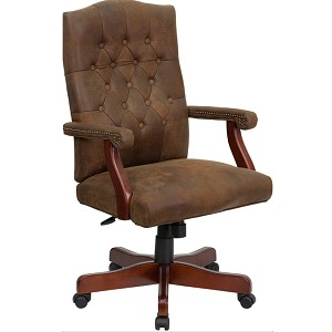 Executive Office Chairs 802-BRN-GG Brown Ultra-Suede Like LeatherSoft