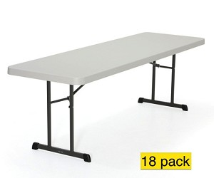 Lifetime Professional Grade Almond 8' Plastic Folding Tables 18-Pack 880250