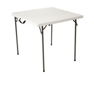 Lifetime 34 Square Card Tables 80273 White Fold-in-Half Folding Table