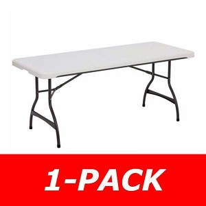 6 ft. Commercial Nesting Lifetime Plastic Table 1-Pack 80306 (White Granite)