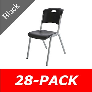 Lifetime Premium Black Stacking Chair 80310