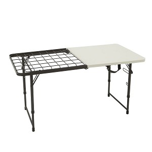 Lifetime Camp Table White Granite 80315 4-Foot Fold-in-Half Top