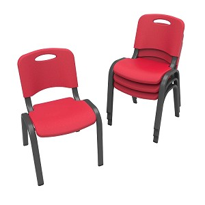 Lifetime Childrens Red Stacking Chairs 80532 Plastic Seat Metal Folding Frame 4 Pack