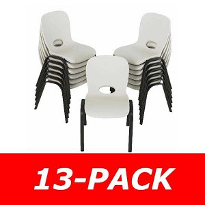 Lifetime Children's Stacking Chairs 80385 13 Pack Almond