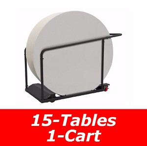 5 ft. Round Commercial Nesting Lifetime Plastic Table 15-Pack 80441 (White Granite) with Cart