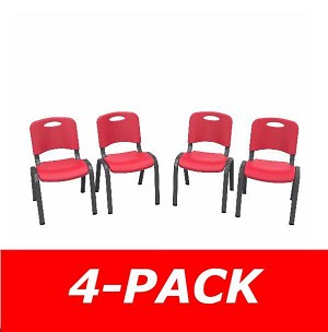 80532 Commercial Children's Stacking Chair (fire red) 4-Pack