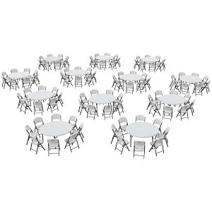 Lifetime 80542 Folding Chairs Round Tables Package 12 60-inch Tables 96 Chairs