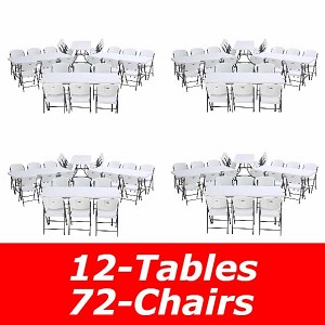 6 ft. Commercial Nesting Lifetime Plastic Table 12-Pack with 72-Pack Chairs 80545 (White Granite)