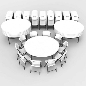 Lifetime 80583 White Granite Commercial 72 12-pack of tables and 120 chairs.