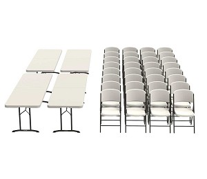 80624 Lifetime Almond 4 Folding 8' Tables + 32 Folding Chairs Package