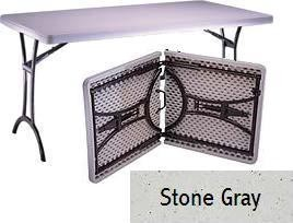 SO 8303 24 PACK Lifetime Accent 5 ft Stone Gray Fold-In-Half Table