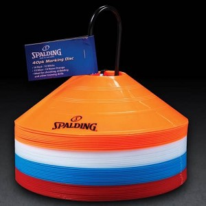 Spalding 8433S Training Cones Blue, Red, White, and Orange 40 Pack