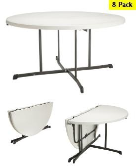 So Lifetime 5401 8 Pack 60 In Almond Fold Half Round Tables