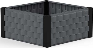 86100 Duramax Square Raised Garden Bed Gray with Black Columns