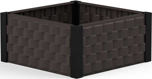 86102 Duramax Square Raised Garden Bed Brown with Black Columns