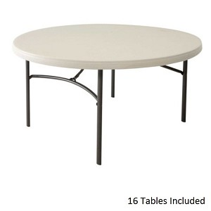 Lifetime 5' 880121 Round Table with Almond Color Top 16-PACK