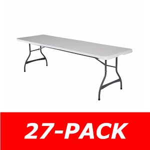 8 ft. Commercial Nesting Lifetime Plastic Table 27-Pack 80299 (White Granite)