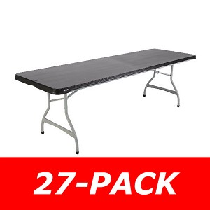 8 ft. Commercial Nesting Lifetime Plastic Table 27-Pack 880462 (Black)