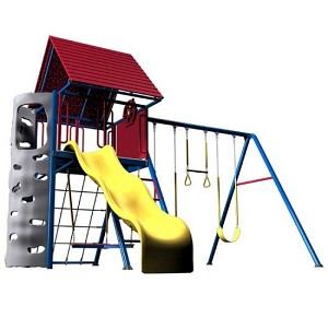 Lifetime Swing Sets Big Stuff Playset + Clubhouse 90137 Primary Colors