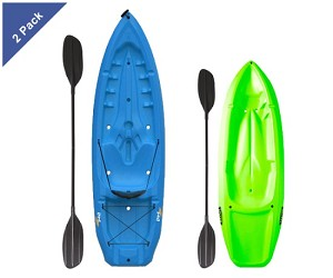 2 Lifetime Sit On Top Kayaks 90189 1 Adult Blue and 1 Youth Lime Green