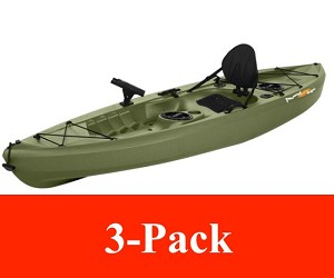 3 PACK Lifetime Green Muskie Angler 10 Foot 120 Inch Kayak On Sale