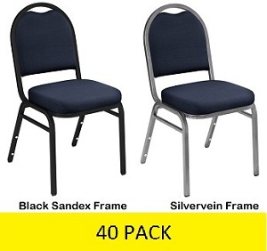 9254 40 Pack Midnight Blue Fabric Upholstered Dome Back Stacking Chair