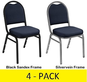 Dome-Back Stacking Chairs - NPS 9254 Fabric Upholstered Seat - 4 Pack