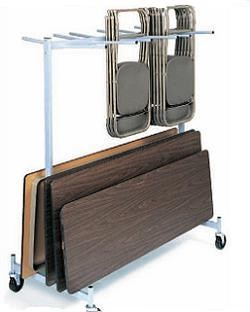 Raymond Folding Chair + Folding Table Cart 2 Tier Storage Rack Truck
