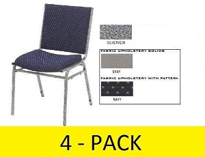 4 National Public Seating NPS 9400 Heavy-Duty Upholstered Stack Chair
