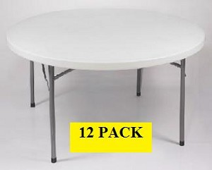 Round Folding Tables - ACT Bm-48r 48 inch Gray Granite Top - 12 Pack