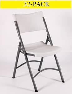 XSO Plastic Folding Chairs For Sale ACT-Bm Gray Seat and Back 32 Pack