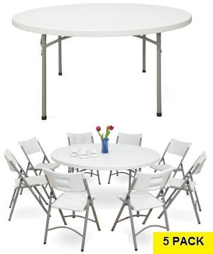 Round Tables - NPS BT60r 60 in. Gray Speckled Top Folding Frame 5 Pack