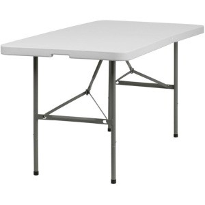 20 Fold in Half Folding Tables DAD-YCZ-152Z-GG 5' White Bi-Fold Tables