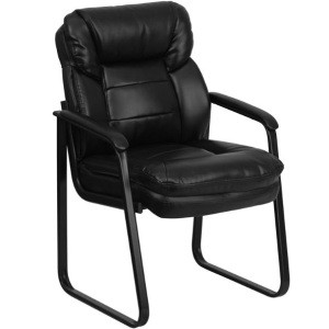 Office Reception GO-1156-BK-LEA-GG Black Leather Side Chair, Sled Base