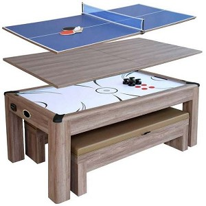 Driftwood NG1137H 7-ft Air Hockey Table Tennis Combo Set w/Benches