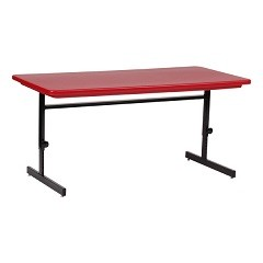 Corell Plastic Computer Table RCSA3072 30x72 Blow Molded Top in Red