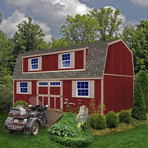 Best Barns Ravenna 16'x28' 2-Story Wood Shed Barn Kit with Stairs