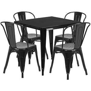 Restaurant Furniture ET-CT002-4-30-GG 31.5 Metal Table, 4 Stack Chairs